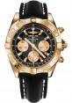 Replica Breitling Chronomat 44 Rose Gold Polished Bezel Black Leather Strap HB011012/B968