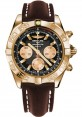 Replica Breitling Chronomat 44 Rose Gold Polished Bezel Brown Leather Strap HB011012/B968