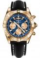 Replica Breitling Chronomat 44 Rose Gold Polished Bezel Black Leather Strap HB011012/C790