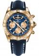 Replica Breitling Chronomat 44 Rose Gold Polished Bezel Blue Leather Strap HB011012/C790