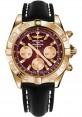 Replica Breitling Chronomat 44 Rose Gold Polished Bezel Black Leather Strap HB011012/K524