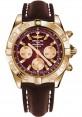 Replica Breitling Chronomat 44 Rose Gold Polished Bezel Brown Leather Strap HB011012/K524