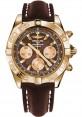 Replica Breitling Chronomat 44 Rose Gold Polished Bezel Leather Strap HB011012/Q57