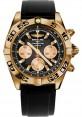 Replica Breitling Chronomat 44 Rose Gold Black Numbered Bezel Rubber Strap HB0110C1/B968