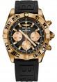 Replica Breitling Chronomat 44 Rose Gold Black Numbered Bezel Black Diver Pro III Strap HB0110C1/B968