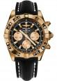 Replica Breitling Chronomat 44 Rose Gold Black Numbered Bezel Black Leather Strap HB0110C1/B968