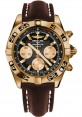 Replica Breitling Chronomat 44 Rose Gold Black Numbered Bezel Brown Leather Strap HB0110C1/B968