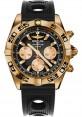 Replica Breitling Chronomat 44 Rose Gold Black Numbered Bezel Black Ocean Racer Strap HB0110C1/B968