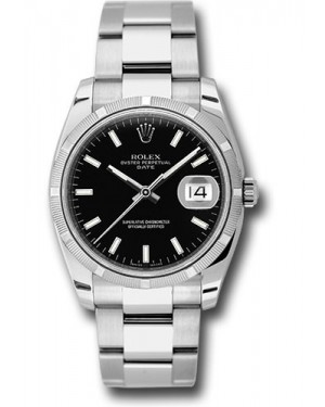 Exact Replica Rolex Oyster Perpetual Date 115210 bkio 34mm Engine Turned Bezel Oyster Bracelet