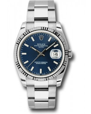 Exact Replica Rolex Oyster Perpetual Date 115234 blio 34mm Fluted Bezel Oyster Bracelet