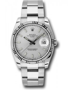 Exact Replica Rolex Oyster Perpetual Date 115234 sso 34mm Fluted Bezel Oyster Bracelet