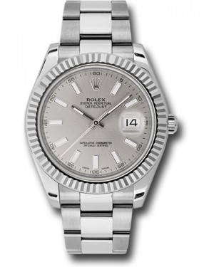 Exact Replica Rolex Datejust II 116334 sio 41mm Steel and White Gold Fluted Bezel Oyster