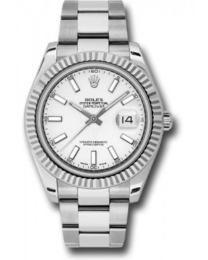 Exact Replica Rolex Datejust II 116334 wio 41mm Steel and White Gold Fluted Bezel Oyster