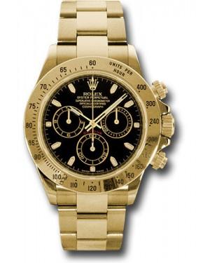 Exact Replica Rolex 116528 bks Daytona Yellow Gold Bracelet