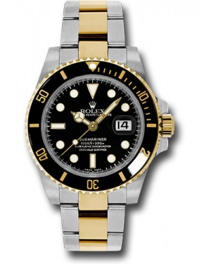 Exact Replica Rolex Submariner 116613 bk Steel and Gold Watch