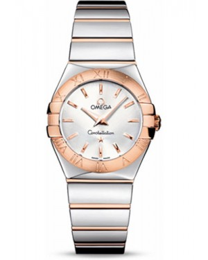 Replica Omega Constellation Quartz 27mm Polished Steel and Red Gold 123.20.27.60.02.003