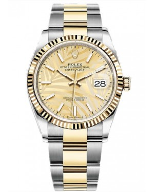Replica Rolex Datejust 36 Two Tone Gold Palm Dial 126233-0038 Watch