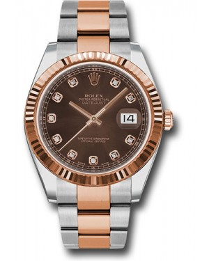 Replica Rolex Datejust 41 Steel & Pink Gold Chocolate Diamond Dial 126331
