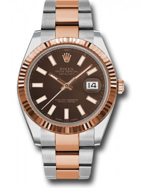 Replica Rolex Datejust 41 Steel & Pink Gold Chocolate Index Dial 126331
