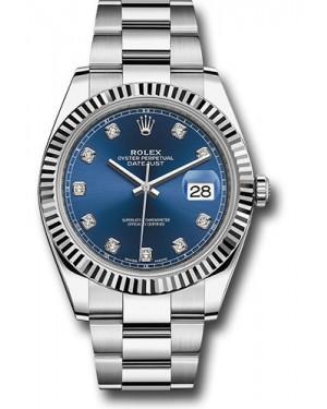 Replica Rolex Datejust 41 Steel & White Gold Blue Diamond Dial 126334