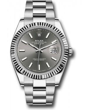 Replica Rolex Datejust 41 Steel & White Gold Dark Rhodium Index Dial 126334