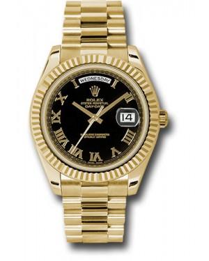 Exact Replica Rolex Day-Date II 218238 bkrp Yellow Gold Fluted Bezel Watch