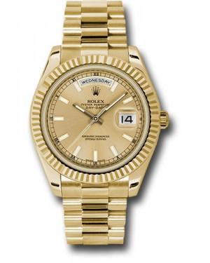 Exact Replica Rolex Day-Date II 218238 chip Yellow Gold Fluted Bezel Watch