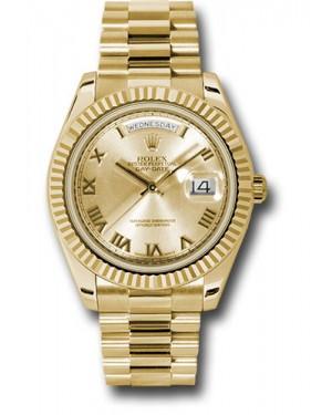 Exact Replica Rolex Day-Date II 218238 chrp Yellow Gold Fluted Bezel Watch