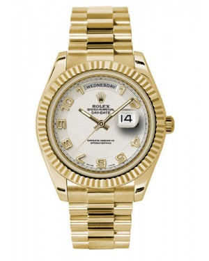 Exact Replica Rolex Day-Date II 218238 icap Yellow Gold Fluted Bezel Watch