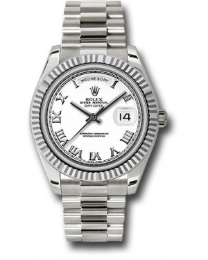 Exact Replica Rolex Day-Date II 218239 wrp White Gold Fluted Bezel Watch