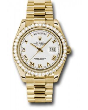 Exact Replica Rolex Day-Date II 218348 wrp Yellow Gold Diamond Bezel Watch