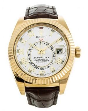 Replica Rolex Sky-Dweller Yellow Gold Silver Sunray Dial 326138 Watch