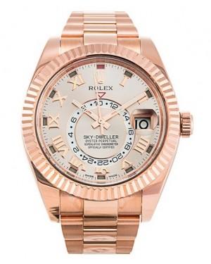 Replica Rolex Sky-Dweller Everose Gold Sundust Sunray Dial 326935 Watch