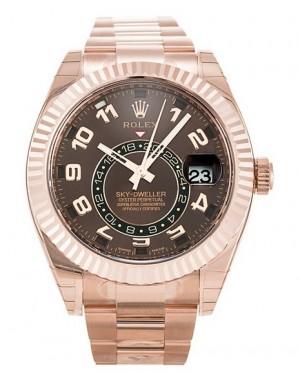 Replica Rolex Sky-Dweller Everose Gold Chocolate Dial 326935  Watch
