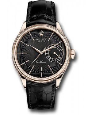Replica Rolex Cellini Date Everose Gold Black Dial 50515 bkbk Watch