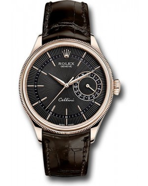 Replica Rolex Cellini Date Black Guilloche Dial 50515 bkbr Watch