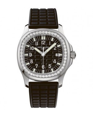 Replica Patek Philippe Aquanaut 5067A-001 Ladies Stainless Steel Diamonds Black Dial Watch