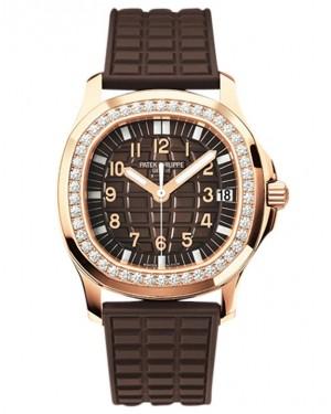 Replica Patek Philippe Aquanaut 5068R-001 Ladies Rose Gold Diamonds Chocolate Dial Watch