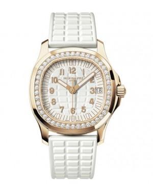 Replica Patek Philippe Aquanaut 5068R-010 Ladies Rose Gold Diamonds White Dial Watch