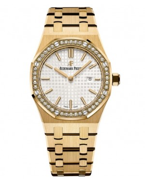 Exact Replica Audemars Piguet Royal Oak Lady Quartz 33mm Yellow Gold Silver Dial 67651BA.ZZ.1261BA.01 Watch