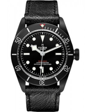 Replica Tudor Heritage Black Bay Black PVD Steel Leather Strap 79230DK