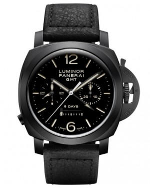 Replica Panerai Luminor 1950 Chrono Monopulsante 8 Days GMT Black Ceramic PAM00317