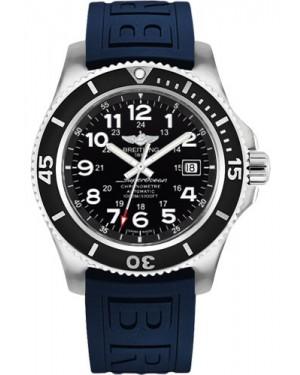 Exact Replica Breitling Superocean II 44mm Black Dial Blue Diver Pro III Strap A17392D7/BD68 Watch