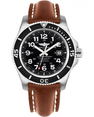 Exact Replica Breitling Superocean II 44mm Black Dial Brown Leather Strap A17392D7/BD68 Watch