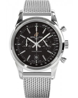 Replica Breitling Transocean Chronograph 38 Stainless Steel Ocean Classic Bracelet Black Dial A4131012/BC06 Watch