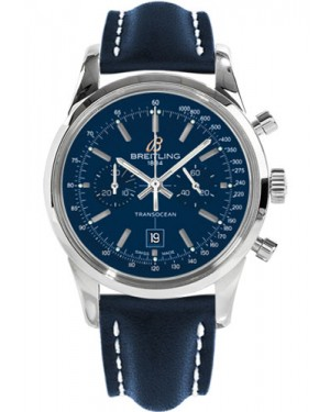 Replica Breitling Transocean Chronograph 38 Stainless Steel Blue Leather Strap A4131012/C862 Watch