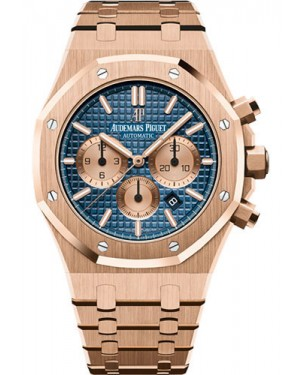 Replica Audemars Piguet Royal Oak Chronograph 41mm Pink Gold Blue Dial 26331OR.OO.1220OR.01