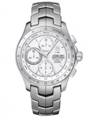 Replica Tag Heuer Link Calibre 16 Automatic Chronograph Day Date Silver Dial Watch CJF211B.BA0594