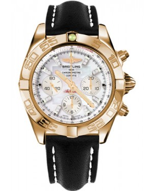 Replica Breitling Chronomat 44 Rose Gold Polished Bezel Black Leather Strap HB011012/A698
