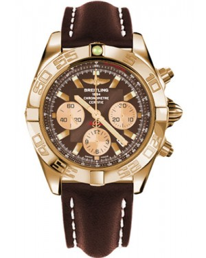 Replica Breitling Chronomat 44 Rose Gold Polished Bezel Leather Strap HB011012/Q57